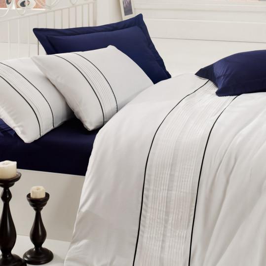 Купить Alone Lacivert Cotton Box постельное белье с вышивкой