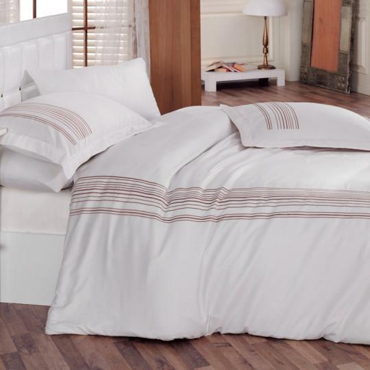 Купить ALWAYS BEYAZ Cotton Box постельное белье с вышивкой