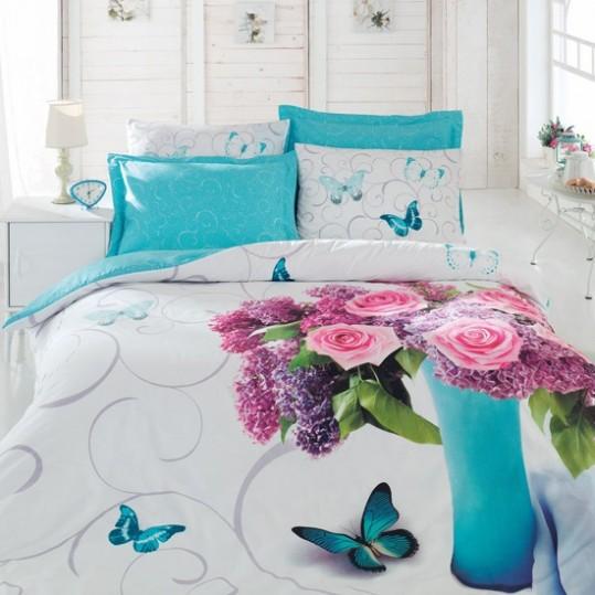 Купить MERI TURKUAZ 3D Floral Cotton Box постельное белье