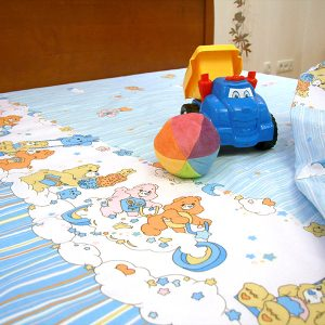 Купить Голубой с мишками детский постельный комплект Сплю