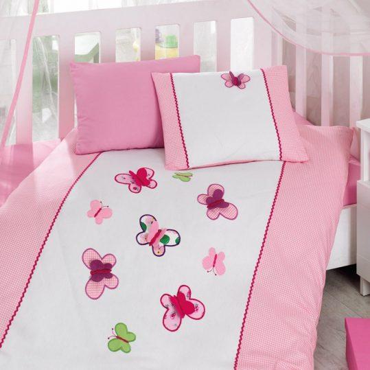 Купить Kelebek Pembe Cotton Box постельное белье с вышивкой для новорожденных