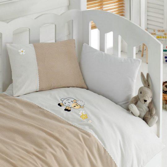 Купить Kuzucuk Bej Cotton Box постельное белье с вышивкой для новорожденных