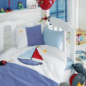 Купить Yelkenli Mavi Cotton Box постельное белье с вышивкой для новорожденных