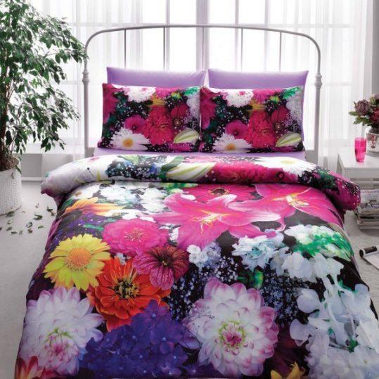 Купить Flowers v01 Фуксия 3D TAC постельное белье