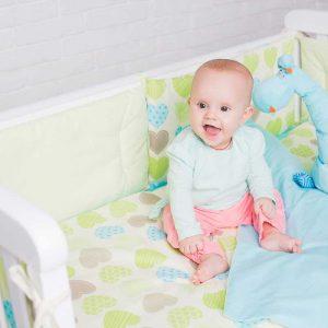 Купить Салатовые сердечки Elfdreams постельное белье для новорожденных